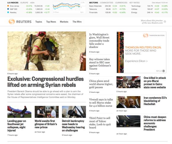 Reuters albiste agentziaren webgunearen beta bertsioa.